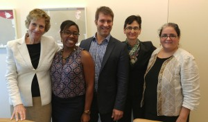Left to Right: Susan B. Plum, Director, Skadden Fellowship Foundation; Brooke Richi-Babbage, Founder & Executive Director, Resilience Advocacy Project; Adam Stofsky, Executive Director, New Media Advocacy Project; Dora Galacatos, Executive Director, Ferrick Center for Social Justice; Claudia Johnson, LawHelp Interactive Program Manager, Pro Bono Net.